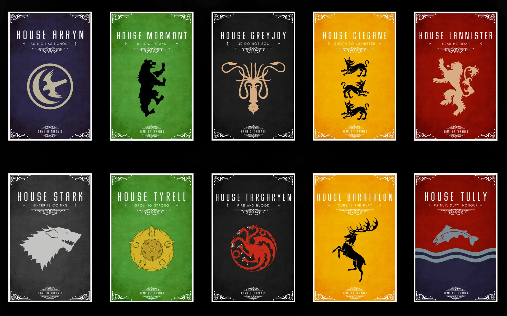 Game of Thrones Houses Mottos